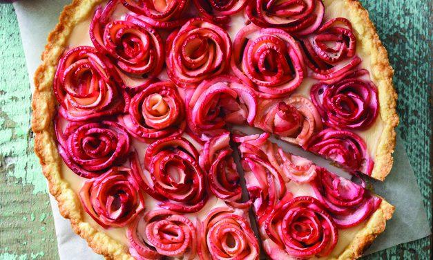 Rose Apple Pecan Tart with Cinnamon Custard